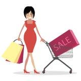 Frau shopaholic Mädchen mit Taschen und Warenkörben im Verkauf Charaktervektor-Illustrationsleute Lizenzfreies Stockfoto