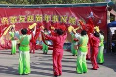 Frau singen und tanzen, um das chinesische neue Jahr zu feiern Stockbild