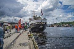 Frau sjøkurs ist im Hafen von halden angekommen Lizenzfreie Stockfotos