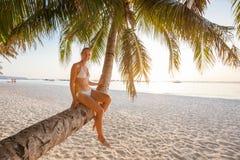 Frau steht an der Palme nahe Ozean bei Sonnenuntergang still Lizenzfreie Stockbilder
