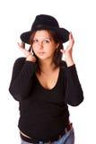 Frau tragender Fedora Stockfotografie