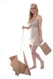 Frau tragendes eco kleidet mit ihrem eco Haustier Lizenzfreie Stockfotografie