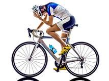 Frau Triathlon ironman Athleten-Radfahrerradfahren Lizenzfreie Stockfotografie