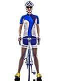 Frau Triathlon ironman Athleten-Radfahrerradfahren Lizenzfreie Stockbilder