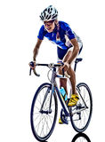 Frau Triathlon ironman Athleten-Radfahrerradfahren stockbild