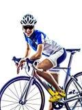 Frau Triathlon ironman Athleten-Radfahrerradfahren lizenzfreies stockfoto