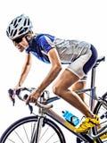 Frau Triathlon ironman Athleten-Radfahrerradfahren lizenzfreie stockfotos