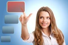 Frau trifft die Wahl von der modernen Technologie Lizenzfreies Stockbild