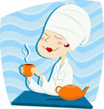Frau trinkt Tee vektor abbildung
