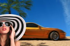 Frau und Auto Stockbilder