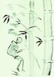 Frau und Bambus stock abbildung