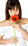 Frau und Blume Stockfoto