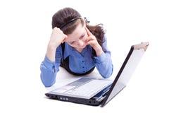 Frau und Computer Lizenzfreie Stockbilder