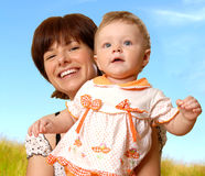 Frau und das Kind lizenzfreies stockbild