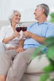 Frau und Ehemann, die ihre Gläser Rotwein klirren Stockbild