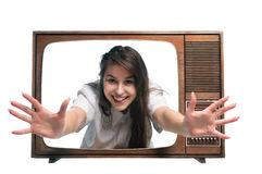 Frau und Fernsehapparat Stockfotografie