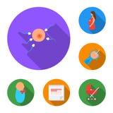 Frau und flache Ikonen der Schwangerschaft in der Satzsammlung für Design Gynäkologie- und Ausrüstungsvektorsymbol-Vorratnetz Lizenzfreie Stockfotos