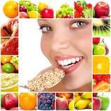 Frau und Früchte Lizenzfreies Stockfoto