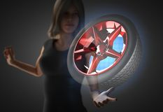 Frau und futusistic Hologramm Lizenzfreies Stockbild