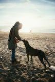 Frau und grauer Stock corso Hund am Strand während des Sonnenuntergangs - Sommer Stockbild