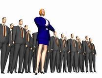 Frau und Gruppe Männer Stockfoto