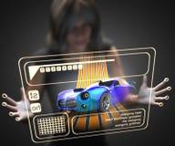 Frau und Hologramm mit Sportwagen Lizenzfreie Stockfotos