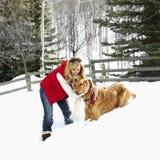 Frau und Hund. Stockfoto
