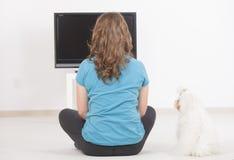 Frau und Hund, die zusammen Fernsehen Stockbild