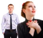 Frau und junger Mann unscharf Lizenzfreie Stockfotos