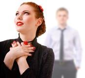 Frau und junger Mann unscharf Stockfotos