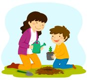 Frau und Kind, die einen Schössling pflanzen vektor abbildung