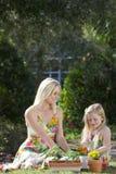 Frau und Mädchen, die Blumen pflanzend im Garten arbeitet Stockbilder
