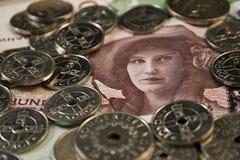 Frau und Münzen Stockfotos