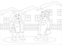 Frau und Mann, die in eine kleine Winterstadt gehen Lizenzfreie Stockbilder