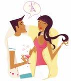 Frau und Mann, die mit Paris flirten und sich befassen Lizenzfreies Stockbild