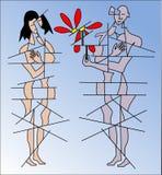 Frau und Mann mit Blume Stockfotos