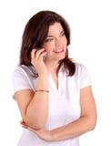 Frau und Mobiltelefon Stockbild