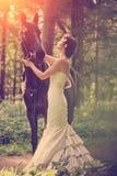 Frau und Pferd stockfotos