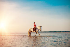 Frau und Pferd auf dem Hintergrund des Himmels und des Wassers Mädchen vorbildliches O lizenzfreies stockfoto
