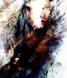 Frau und Pferd der schönen Malerei mit einer Illustrationscollage der schönen Malerei des Fliegenadlers Stockfoto