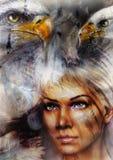 Frau und Pferd mit einem illustra schöne Malerei des Fliegenadlers Stockfotos