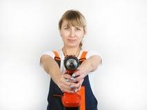 Frau und Reparatur Stockfoto