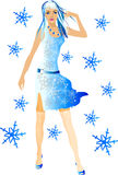Frau und Schneeflocken stock abbildung