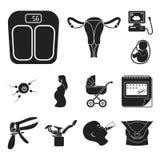 Frau und schwarze Ikonen der Schwangerschaft in der Satzsammlung für Design Gynäkologie- und Ausrüstungsvektorsymbol-Vorratnetz Stockfoto