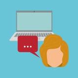 Frau und Social Media Grafikdesign, Vektorillustration Stockbilder