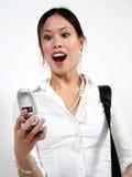 Frau und Telefon stockfotos