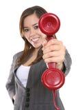 Frau und Telefon stockfotografie