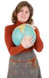 Frau und terrestrische Kugel Lizenzfreies Stockfoto