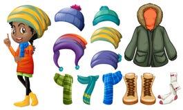 Frau und unterschiedliche Winterkleidung Stockfotos