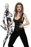 Frau und weiblicher Roboter mit Katana Swords Isolated vektor abbildung